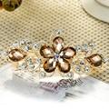 Elegant Lady's Rhinestone Crystal Flower Hairpin Clip Barrette Metal Hair Pins JS