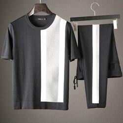 JSBD الصيف خليط الحرير الرياضية تنفس عرق امتصاص النسيج الرجال العلامة التجارية ضئيلة عارضة بدلة رياضية قصيرة الأكمام