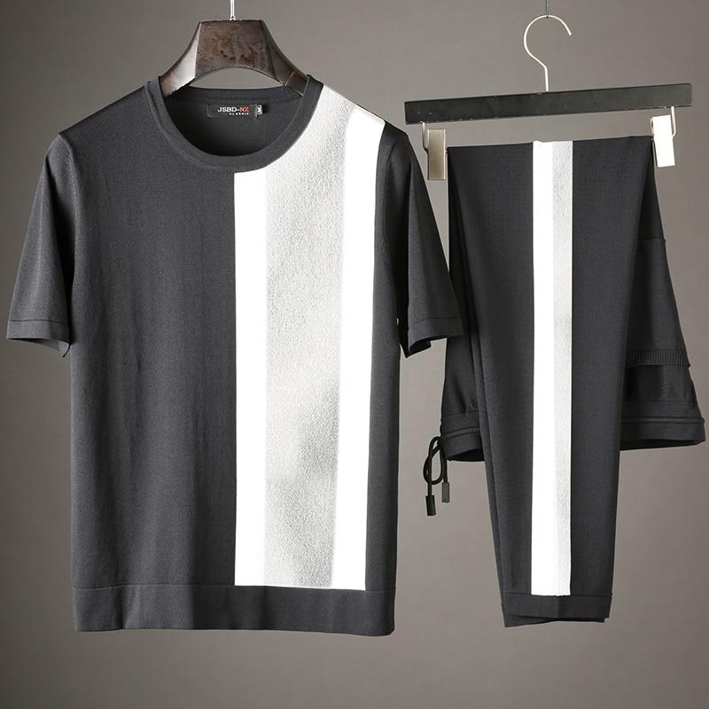 JSBD Summer Patchwork Silk Sportswear Breathable Sweat-absorbing Fabric Men's Brand Slim Casual Sports Suit Short Sleeves
