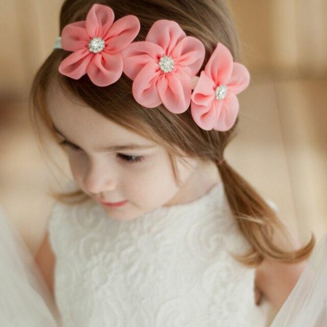 Boutique Chiffon Flower Crown Headband Girls Flowers wreath Baby Girl Diamond  headbands Toddler pink Hairband Festival 89d56bdfdf2