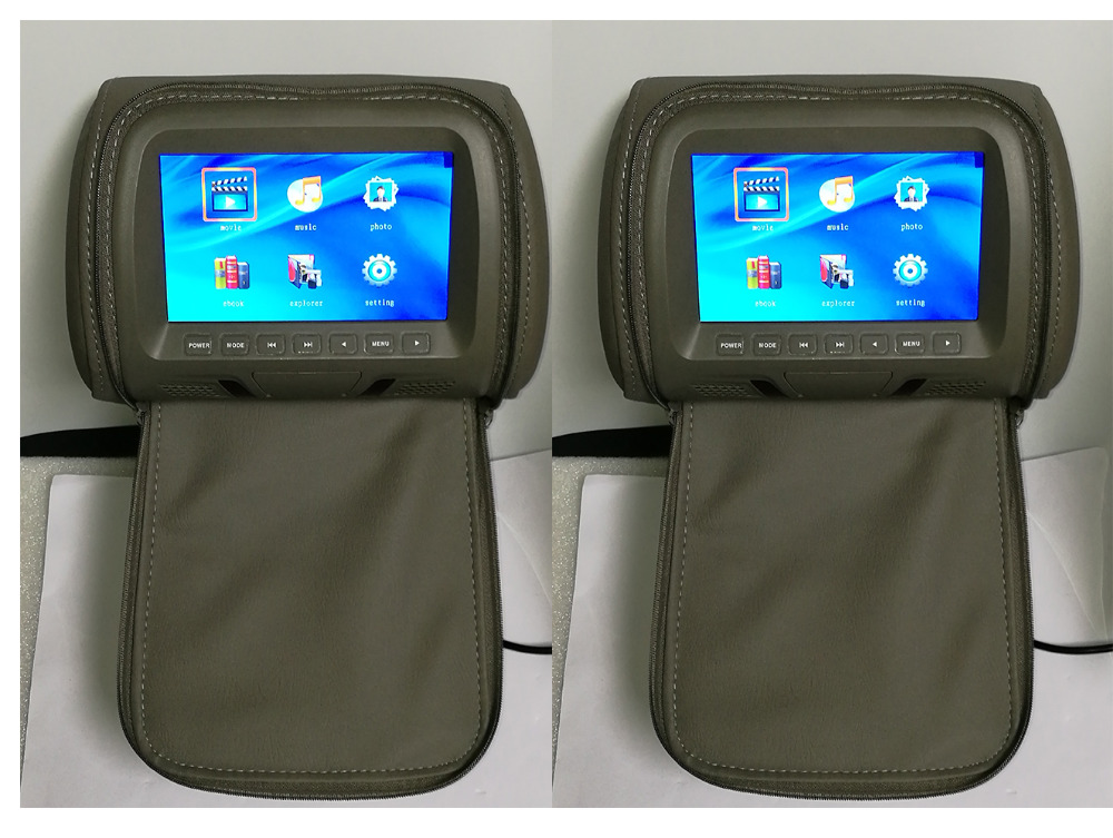 One Pair 7 Inch Car Headrest Monitor With Zipper Cover LED Digital Screen Pillow Monitor MP5 Player & USB and SD Functions
