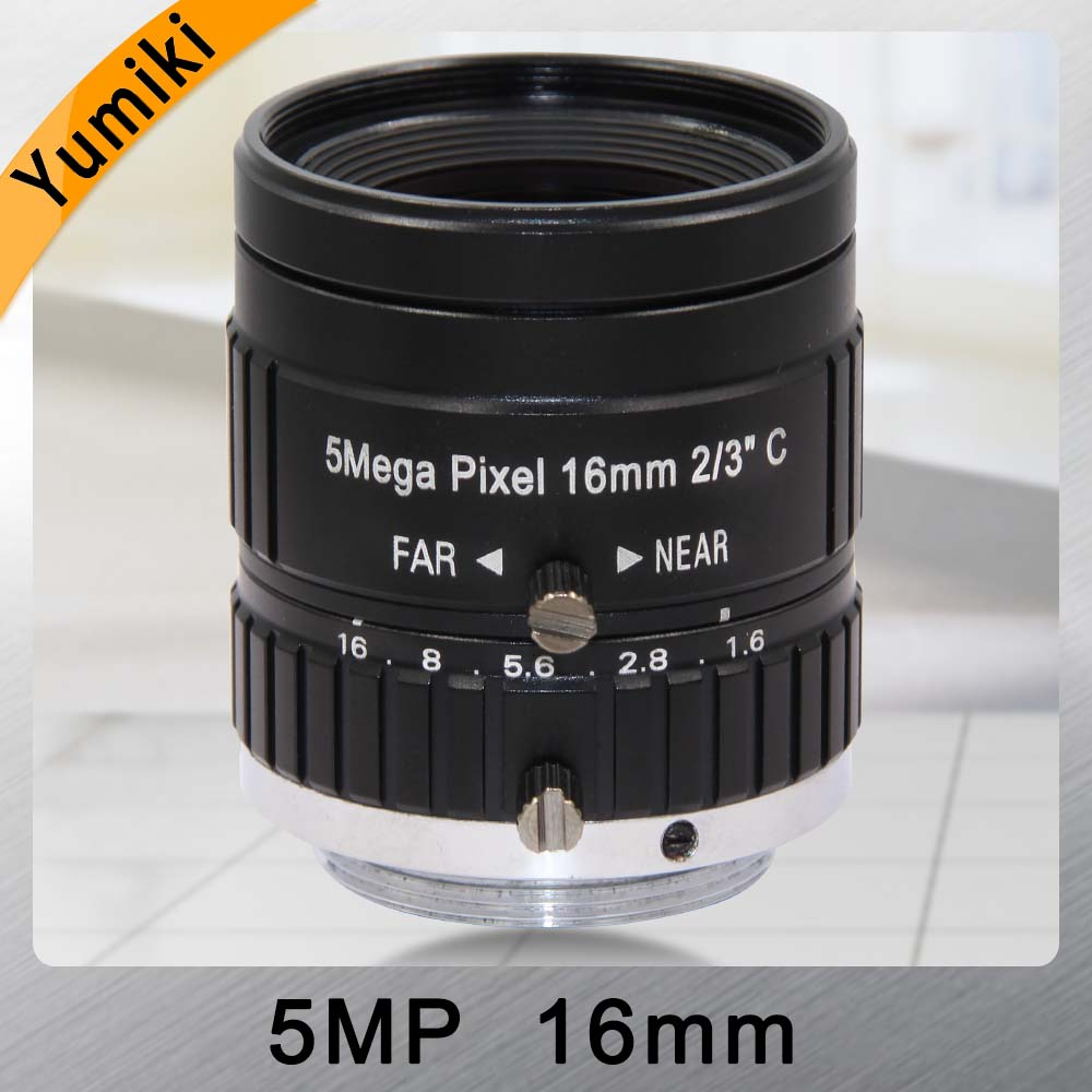 Yumiki HD 5.0MP CCTV Camera Lens 16mm F1.6 Aperture 2/3 Image Format C Mount Industrial Security Road monitoringYumiki HD 5.0MP CCTV Camera Lens 16mm F1.6 Aperture 2/3 Image Format C Mount Industrial Security Road monitoring