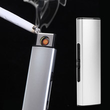 Hot Sell Strip USB Lighter Rechargeable Electronic Lighter Metal Cigarette Lighter Flameless Double Side Cigar Plasma(China)