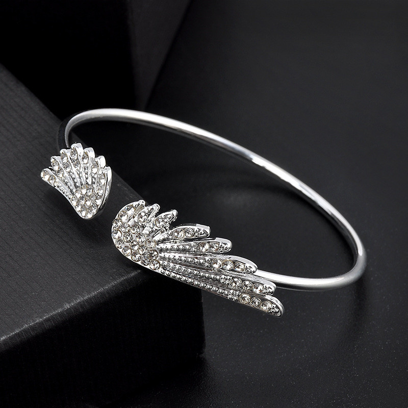 Angel wings crystal bracelet personality alloy opening flash drill bracelet    8BD08