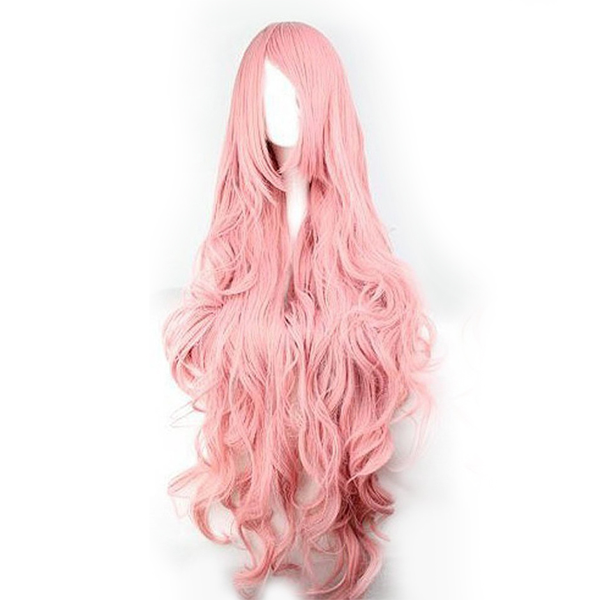 Pink Wigs Hair Synthetic-Wig-Cosplay Curly Soft-Silk Big-Wave Long High-Temperature Air-Volume
