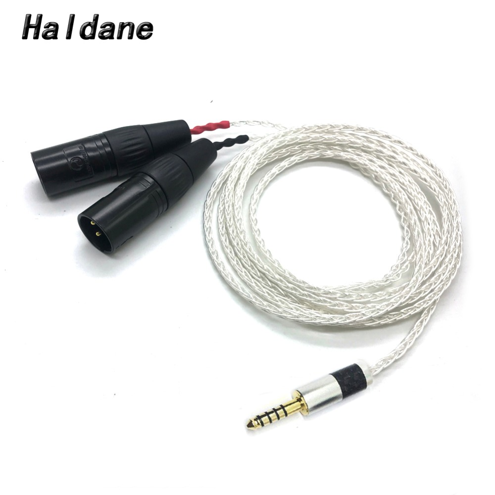 Free Shipping Haldane 8 Cores Silver Plated 4 4mm Balanced Male to Dual 2x 3pin XLR