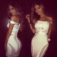 High Quality 2 Colours Black,White Women's Sexy Mini Dress HL Bandage Dress Evening Party Dress Wholesale