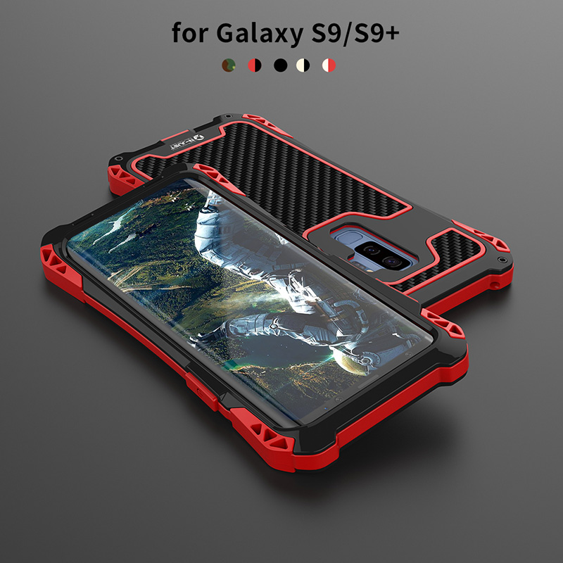 Für Samsung S9 fall Samsung Galaxy S9 plus Fall Abdeckung Stoßfest Carbon Fiber Aluminium Metall Rüstung Fall Für Galaxy S9 silikon