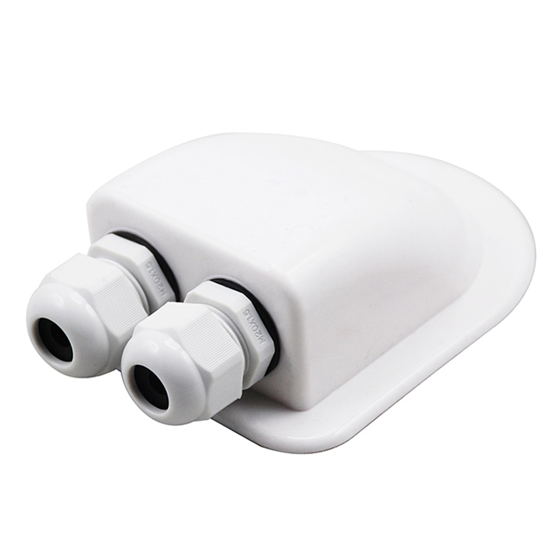 White Entry Gland Box For <font><b>Motorhome</b></font> Caravan <font><b>RV</b></font> <font><b>Accessories</b></font> Double Hole Wire Roof image
