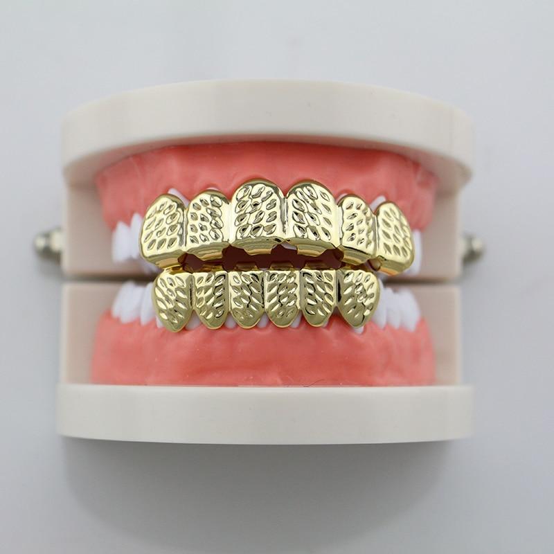 Fashion House Wife Gold Silver Diagonal Cut Teeth Grillz Hip Hop Grillz DentalVampire Teeth Caps For