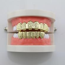 Fashion House Wife Gold/Silver Diagonal Cut Teeth Grillz Hip Hop Grillz DentalVampire Teeth Caps For Halloween Party Gift NL0011
