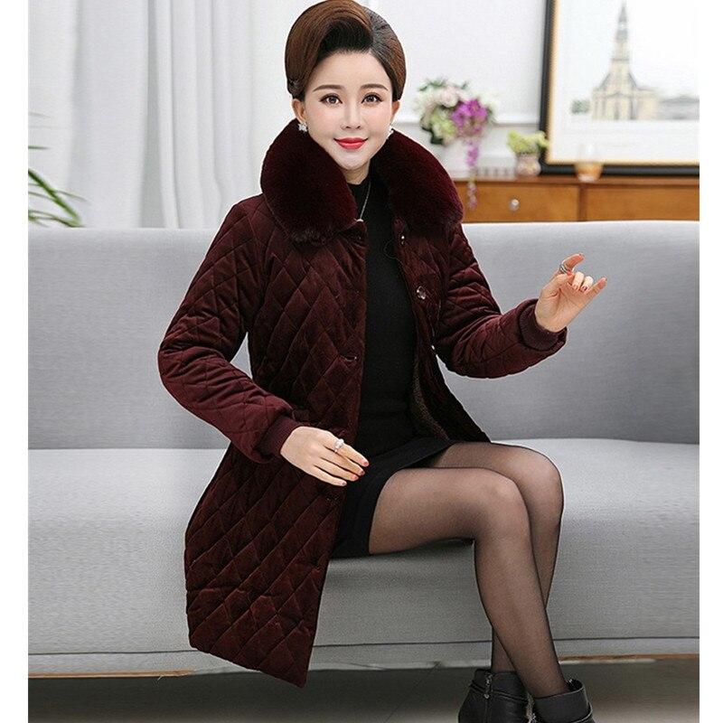 Cachemire red Moyen caramel Plus Femmes Hiver Âge Black Colour Automne La Veste Taille Des Fourrure D'or Velours Wine De Col Mode Outwear 2018 Manteau 6xl Coton BqqwT