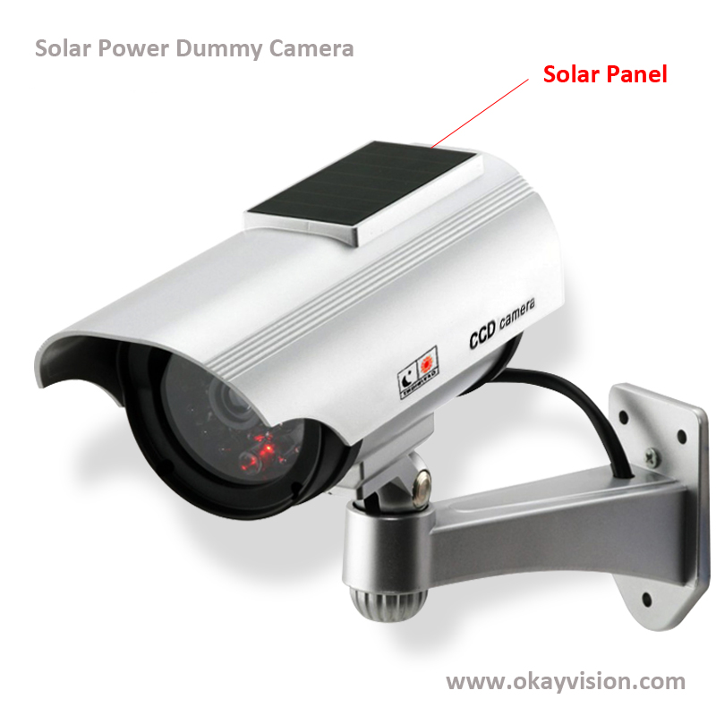 Okayvision Free shipping New Solar Power Dummy Camera Outdoor Security CCTV Surveillance Dummy Camera with Flash LED Light