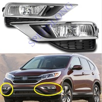 1 Set without bulbs Front fog lights and chrome fog lamp cover strip kits for HONDA CRV 2015 2016 UK version
