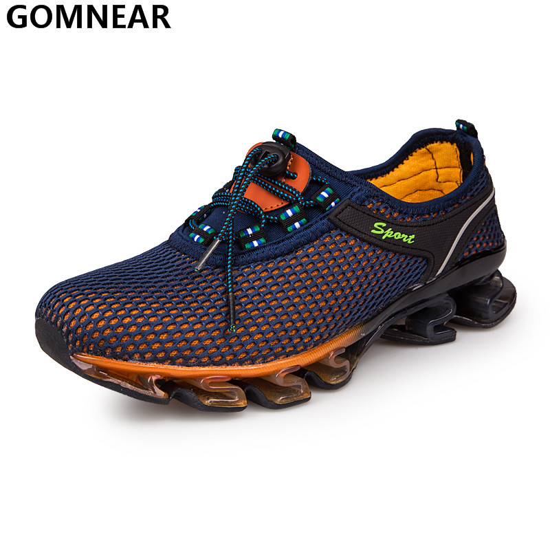 GOMNEAR Man Running Shoes Outdoor Athletic Breathable Antiskid Tourism Trekking Boots Male Cozy jogging Sport Shoes Big Size