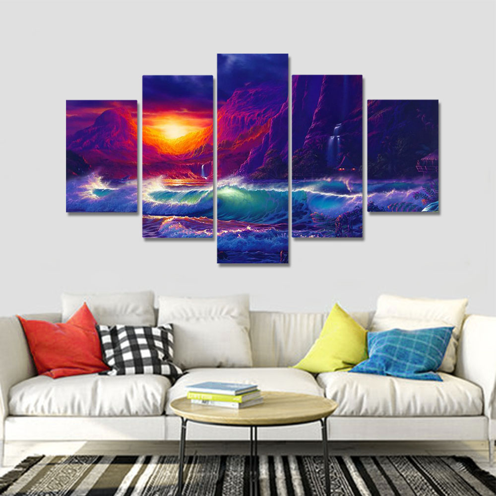 Unframed HD Canvas Prints Oil Painting Seascape Dim Sky Cliff Spray Prints Wall Pictures For Living Room Wall Art Decoration