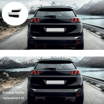 لبيجو 3008 5008 ألور 2017-2018 سيارة الذيل نهاية أنبوب عادم كاتم الصوت غطاء تقليم 2 قطعة سيارة التصميم السيارات استبدال كيت