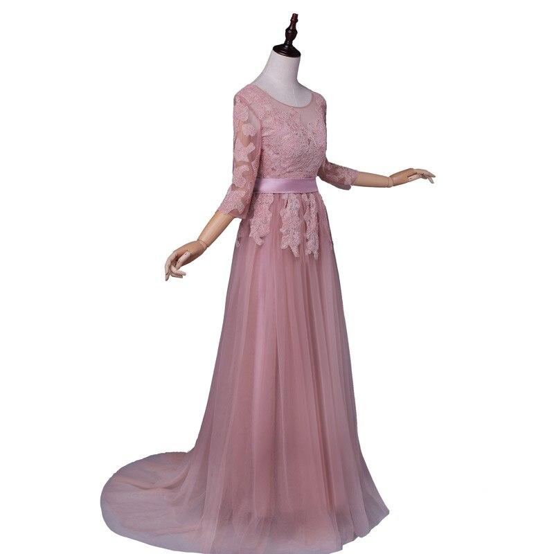 Пишет прибытие элегантный половина рукава платья пром платья Трапеция развертки поезд аппликации вечернее платье бесплатная доставка