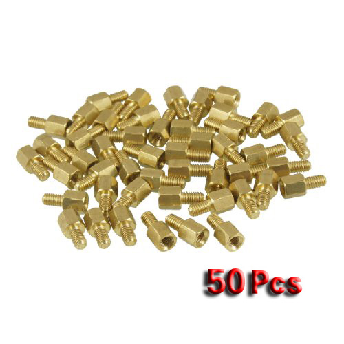 Promotion! 50 Pcs Brass Screw PCB Standoffs Hexagonal Spacers M3 Male x M3 Female 5mm m3 x 15mm hexagon brass cylinder golden 50 pcs