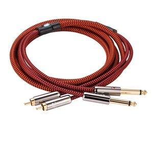 """Image 3 - Kabel Audio Hifi podwójny 6.35mm do podwójnego RCA do wzmacniacza konsoli miksera 2 * RCA do 2*1/4 """"kabel ekranowany Jack 1M 2M 3M 5M 8M 10M 15M"""