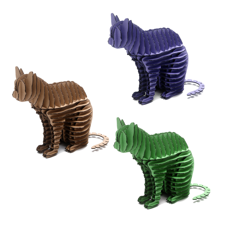 3pc Cat Animal Model Paper Puzzle Craft DIY Handmade Kid Creative Intelligent Toy Eco-friendly Cardboard Home Decor Party Supply