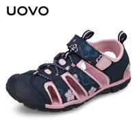 UOVO 2018 Summer New Kids Girl Sandals Children Beach Shoes Leather Sandals For Children Girls Printing Leather Sandales Filles