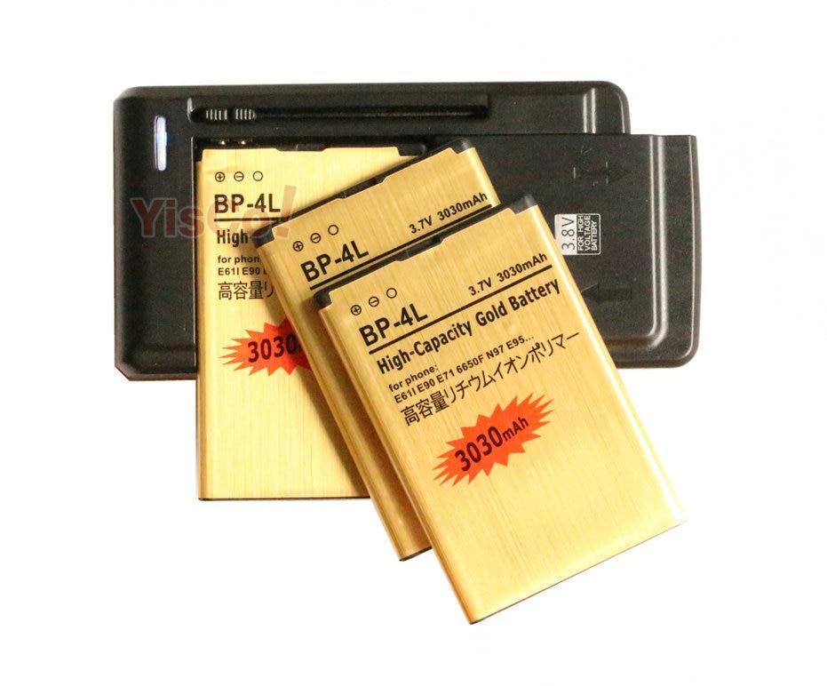 imágenes para Cisoar 3x3030 mAh BP-4L Batería del Oro del Reemplazo + Cargador Universal Para nokia e61i e90 6650/f/t e71 e63/x e72 e73 e95 n97 6790