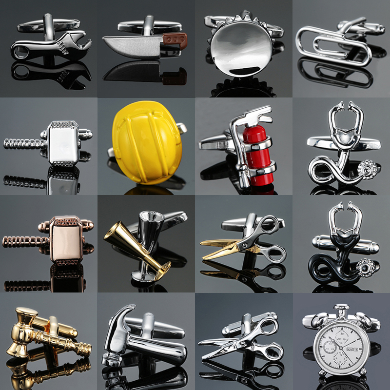 New Luxury Jewelry Brand Cufflinks Of High-grade Safety Hat Fire Extinguisher Judge Hammer Alarm Clock Men's Shirts Cuff-links