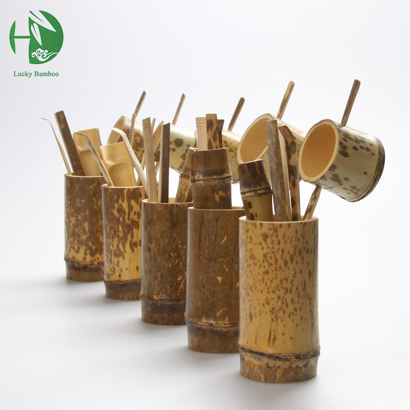 Natural bamboo 5 pcs Tea tools set Include needle spoon clip tea strainer vintage handmade kung