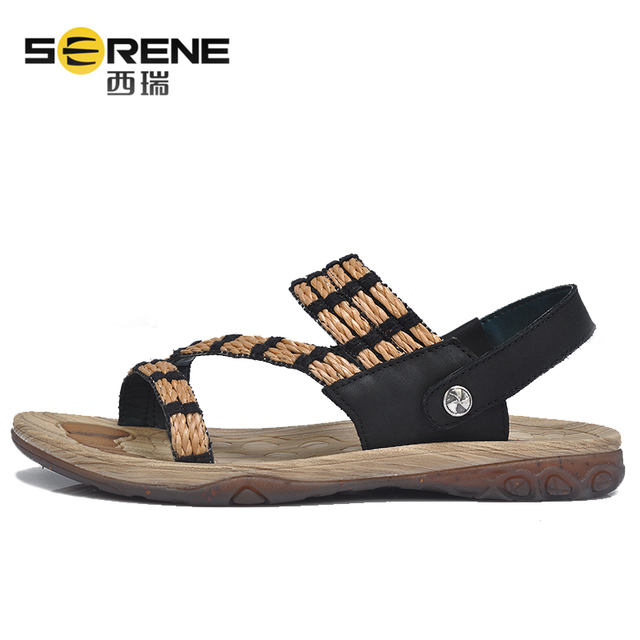 Gladiator Sandals For Men Durable Summer Shoes Breathable Genuine Leather Sandals Unisex Soft Beach Sandals Slippers Casual Shoe