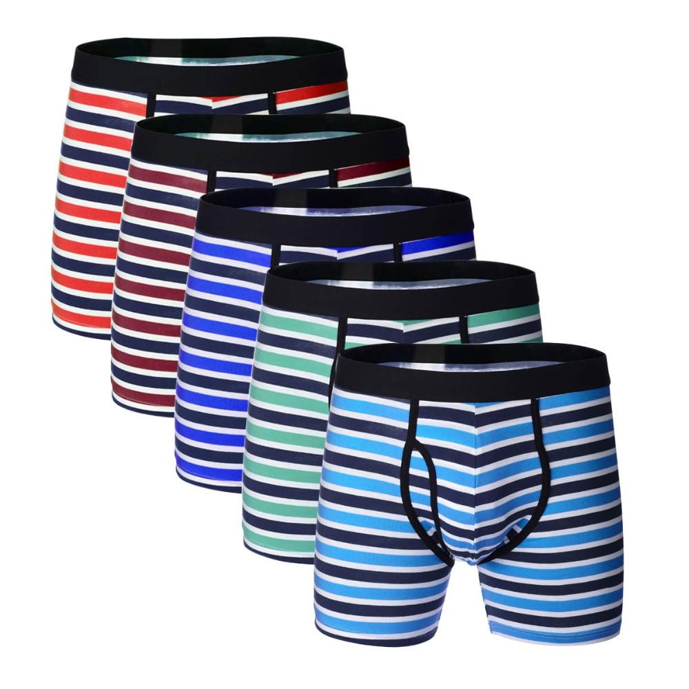 5 pcs/lot Men Underwear Boxers Long Cotton boxer hombre Breathable Striped Shorts Boxer with 3D Fly Underpants US Pluse Size