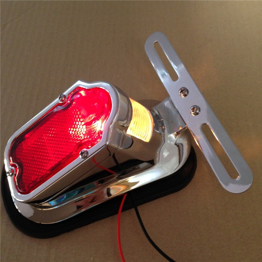 Aftermarket free shipping motorcycle parts Red Tombstone Brake Tail Light Signal For Harley Davidson Bike Chrome