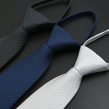 Men Tie Easy To Pull Lazy Necktie 7cm Classic Striped Neckwear Cravat choker Business Dress Meeting Interview Wedding