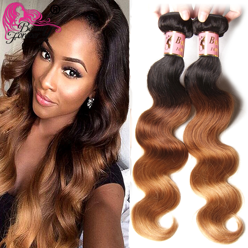 Ombre Human Hair Weave Malaysian Virgin Hair Body Wave 3 Bundle