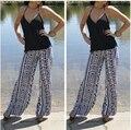 2016 New Women Summer Bohemia Capris Trousers Plus Size Beach Capris Elastic Waist Fashion Floral Print Harem Pants M-XL