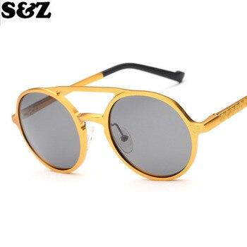 eda5790b Gafas de sol Polarizadas de marca de moda de lujo con forma redonda Espejo  Aviador Polarizadas gafas de Espejo Marco de Oro