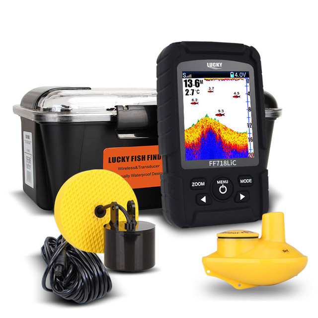 Cheap Lucky FF718LiC Fish Finder 328feet/100m deeper echo sounders for fishing findfish 2-in-1 wired/wireless fish finder Bait Boat