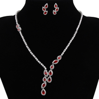 Luxury Classic White Gold Plated Drop Water Drop AAA CZ Ruby Emerald Vintage Jewelry Sets Bridal