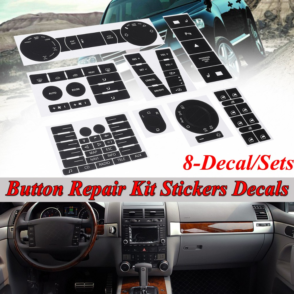 8pcs Car Steering Wheel Windows Headlight Climate Switch Worn Button Repair Stickers Decals For VW For Volkswagen Touareg 04-09