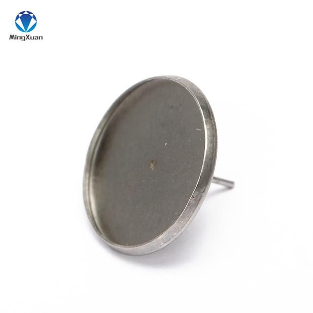 Фото серьги гвоздики из нержавеющей стали с кабошоном 10 мм 20 шт