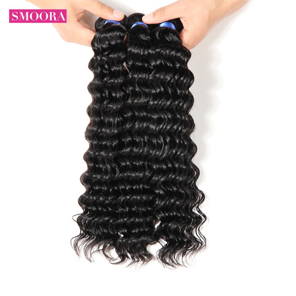 Smoora Hair Pre-Colored  Deep Wave 4 Bundles Deal Natural Black Non  Curl  s Crochet 10-28 inch 4