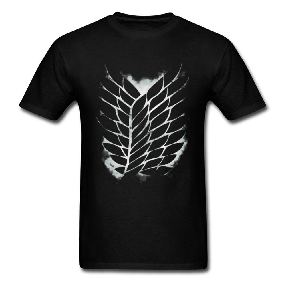 Classic Black T-shirt Men Attack On Titan Logo Tshirt Captain Tops Survey Corps Tees Cotton Custom Geek T Shirt Xmas Gift