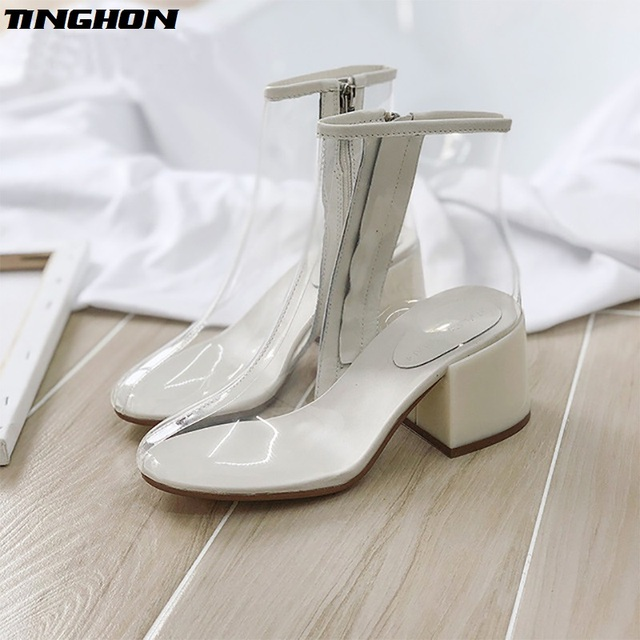 TINGHON Hot new women PVC ankle boots pointed toe crystal heel transparent women  boots clear high heels summer rain shoes f6939ef98fd1