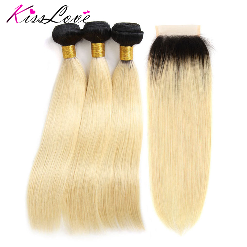 Kiss Love Ombre Bundles With Closure Indian Hair 1B 613 Color Human Hair 3 Bundles With Lace Closure Straight Hair Extension