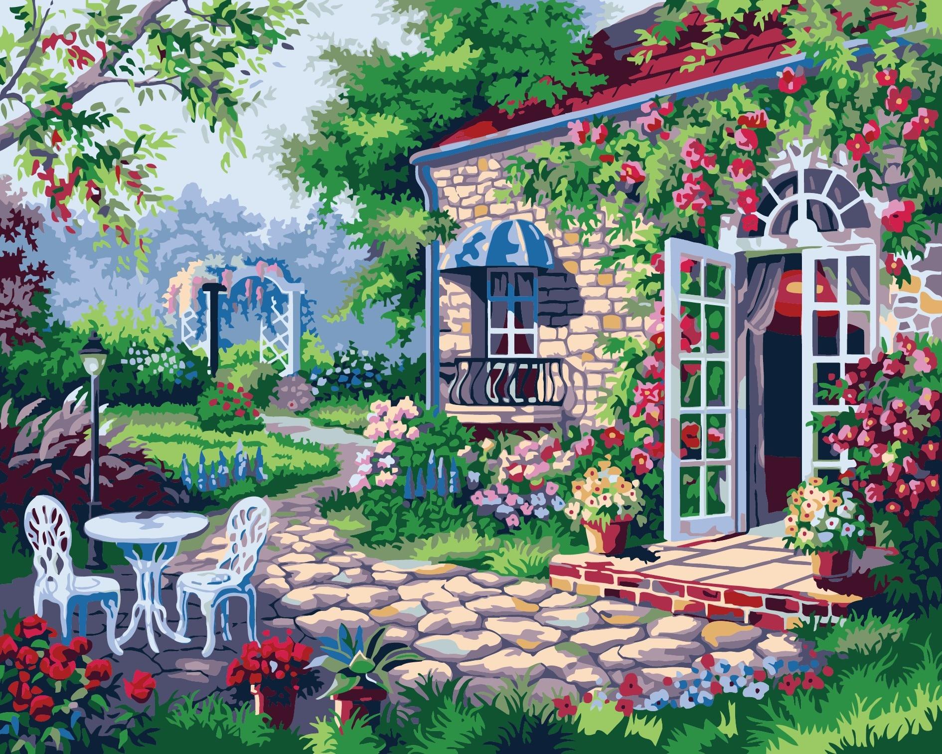 el ltimo estilo regalos del arte hermoso patio cuadro enmarcado pintura sobre lienzo de pintura al