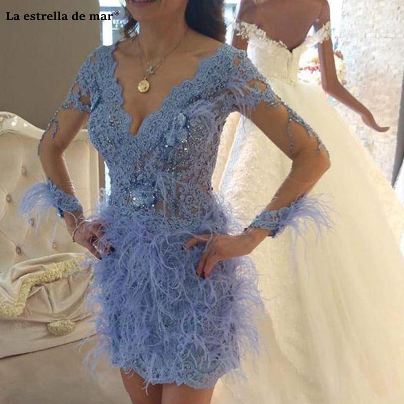 Sukienka Koktajlowa 2019 Feather Cocktail Dresses Long Sleeve Beaded Lace Prom Gowns Illusion V Neck Formal Evening Party Dress