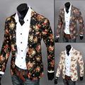 Homens corte tridimensional fino blazer masculino flor terno