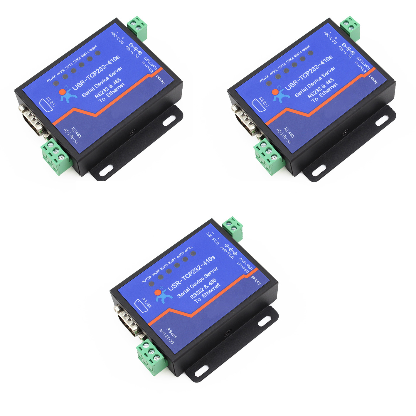 Q18039-3 3 PCS USR-TCP232-410S Terminal Power Supply RS232 RS485 to TCP/IP Converter Serial Ethernet Serial Device Server q18040 usriot usr n520 serial to ethernet server tcp ip converter double serial device rs232 rs485 rs422 multi host polling