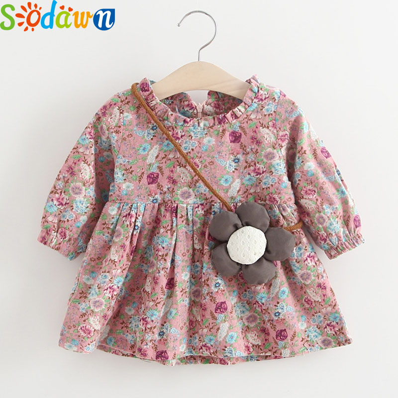Sodawn 2017 Baby Girls Clothes Autumn New Baby Girls Dress Pure Floral Print Princess Dress Children Clothes Infant Clothes