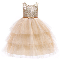 European American Style Teenage Embroidery Ball Gown Dresses Little Girls Sleeveless Clothes Silver&Gold Wedding Princess Dress